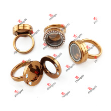 Alloy Coffee Color Crystal Rhinestone Locket Rings Love Gifts (CRR51023)
