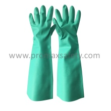45cm Unlined Green Nitrile Glove with Long Cuff