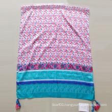 Women Printed Polyester Paj Emulation Silk Muffler Shawl