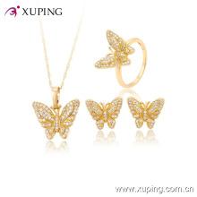 60823-xuping coloré zircron mode nouveau pendentif belle papillon ensembles de bijoux