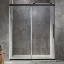 Seawin hotel project black hardware Frameless single sliding Shower Door