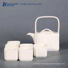 Chinesische Kultur antike Porzellan Kaffee und Tee-Set / weiße Teekanne und Teetasse 6pcs mit Knochen Porzellan Material