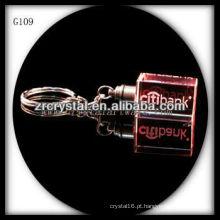 Chaveiro de cristal LED com imagem 3D gravado a laser dentro e em branco chaveiro de cristal G109