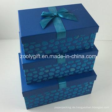 Kundenspezifisches Design Flocking Ribbon Dekoriert Papier Geschenk Aufbewahrungsbox