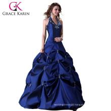 Grace karin Blue Ball Halter Backless Cheap Gown Quinceanera Dresses CL3108