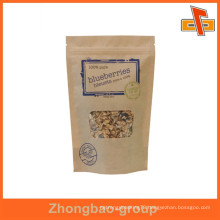 Custom size printing brown kraft paper food bag for snack