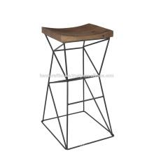 Tabouret de bar en bois industriel en métal élevé