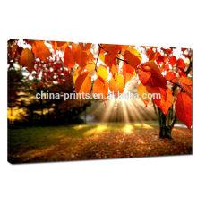 Impresión de la imagen de las hojas del rojo en la lona / impresión natural de la lona para la decoración casera /