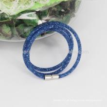 2015 Venda quente 3 envoltório pequeno malha Stardust pulseiras com pedras de cristal Filled magnético clasp encanto pulseiras pulseiras para as mulheres