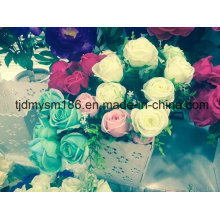 Green Cheap Artificial Flower Big Head Rose Flower for Wedding Stage Decoration