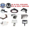 DLC ETL 5 anos de garantia menor preço fábrica 130lm / w levou luz solar fotocélula sensor levou anoitecer ao amanhecer levou quintal luz