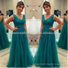 Vestido de Festa Fashion Tulle Appliques A Line Robe de Soiree Lace Evening Gown Mother Of The Bride Dresses MM922