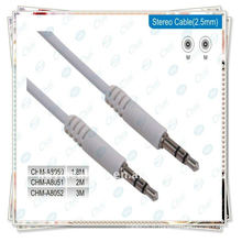 Câble stéréo mâle haut de gamme de 6,35 mm blanc