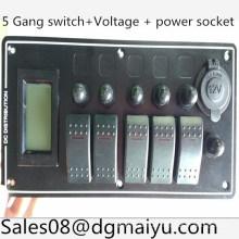 5 Gang LED Wippschalter Panel + Spannungsüberwachung + 12V Steckdose