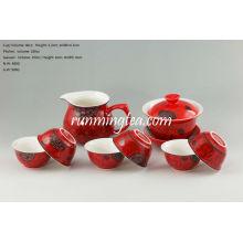Juego de té chino de porcelana roja, One Gaiwan, One Pitcher y 6 tazas