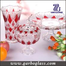 Verrerie en verre et verrerie Set & Glass Candy Jar & Glass Plate & Glass Vase