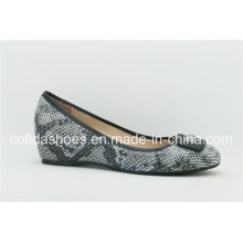 Newest Printed Leather Wedge Heel Ballet Lady Shoes