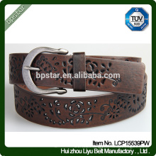PU Women Belts Hollow Wide Coffee Casual Straps for Female Jeans Vintage Cintos Designer Brand