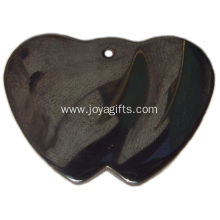 Hematite Double Heart Pendant for Fashion Jewelry Health Gifts