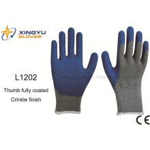 10g T / C cepillado Shell Latex Crinkle guante de trabajo de seguridad con pulgar completamente recubrimiento (L1202)