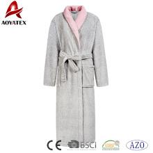 Women luxury coral fleece robe long sleeve contrast color nightwear soft bathrobe