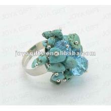 Enrouler des anneaux avec de la pierre à puce Turquoise
