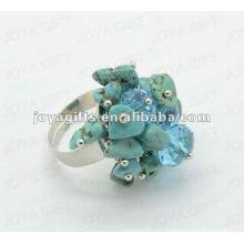 Enrole anéis com turquesa Chip pedra