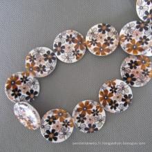 Shell, perles de coquillage fleur brun Disc (SHB2008)