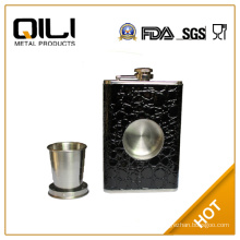 Novelty 8 oz hip flask with stretch cup