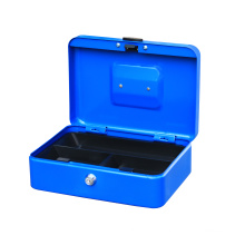 Popular secret key lock cash box metal money box with metal round handle safe box cash