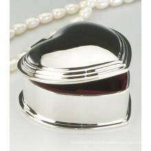Casamento espelho acabamento polido forma coração pequena caixa de jóias de metal