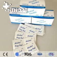 Almohadilla de preparación de alcohol médico isopropílico al 70% con certificación CE