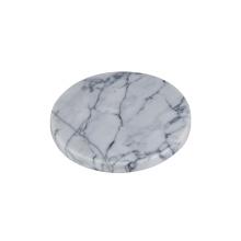 Marmoruntersetzer mit schwarzen Eisen-Untersetzerhaltern / Tassenmatte