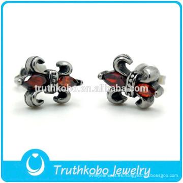 TKB-E0085 Native American Custom Jewelry Male Fleur Lis De Pendientes de acero inoxidable 316l