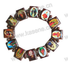 Holy Catholic Wood Bead Rosary Bracelet with Saint Picture