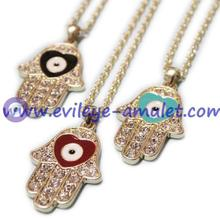 Evil Eye Fatima Bergamot Hands Necklace With Rhinestone Wholesale