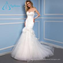 Lace Appliques Flowers Chapel Train Best Wedding Dresses