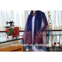 Последний модный цветок печатных продолговатая шарф шаль и лучшие продажи шифон шарф twill