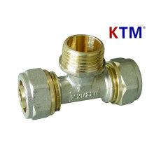 Латунный штуцер трубы - Мужской Тройник (сантехника, лазерная и перекрытие трубопровода сторона)