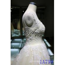 Tiras de ilusão floral applique vestido de casamento de tule