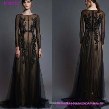 Vestido de noche de la gasa atractiva hecha a mano de las mujeres de la moda