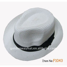 Promotion caps and white fedora hat for party paper braid with custom logo for promotional