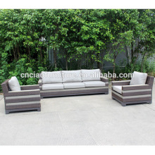 Constructed plastic wood and rattan sofa garden furniture