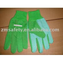 Pvc dots cotton garden gloves