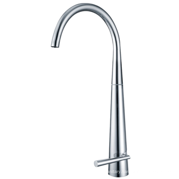 Stainless steel faucet installed in the home kitchen