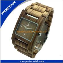 Banda 100% de alta calidad y movimiento de reloj de madera
