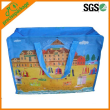 Full Color Printed Laminated Non Woven Shopping Bag With Zipper