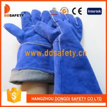 Guantes de seguridad de guante de soldadura de piel dividida vaca azul Dlw617