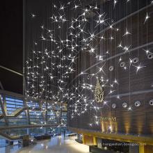 Decoração de restaurante de hotel por atacado Grande lustre LED