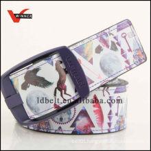 Customized fashion printed PU wide belt